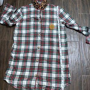 Flannel plaid nightgown shirt RalphLauren